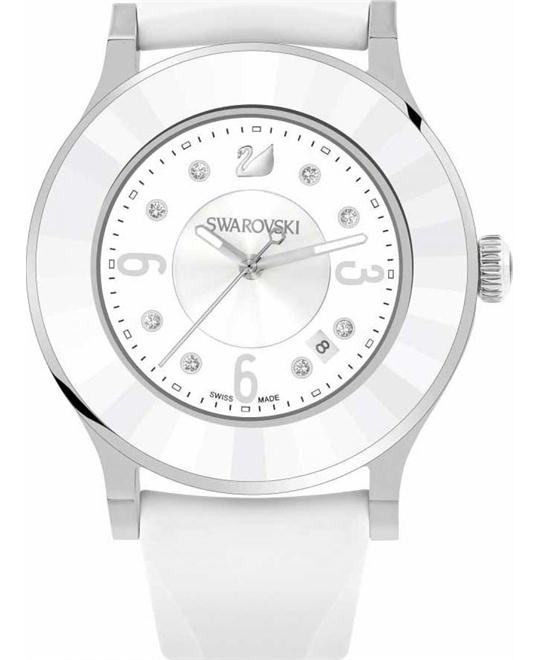 Swarovski Octea Classica White Rubber Watch 39mm