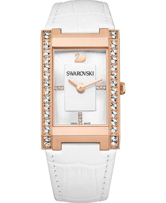 Swarovski Square White Dial Leather Ladies Watch 41mm