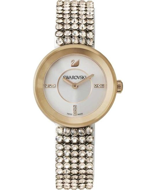 Swarovski Gold Leather Swiss Quartz Watch 30mm