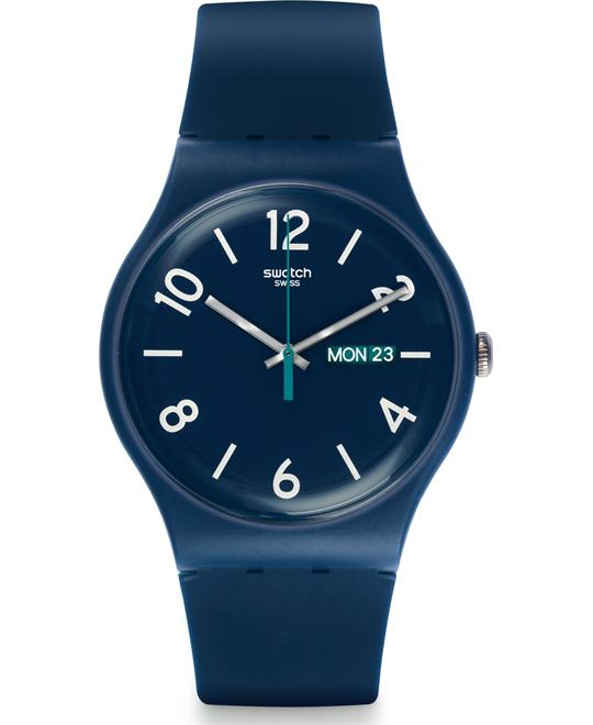 Swatch Backup Blue Blue Silicone Unisex Watch 42mm