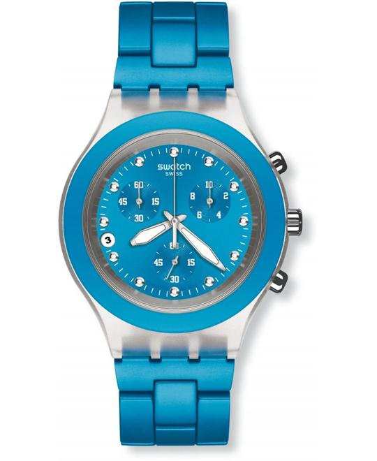 Swatch Blue Aluminum Swiss Quartz Watch 43mm
