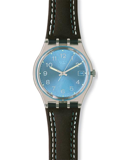 Swatch Blue Choco Clear Plastic Watch 34mm