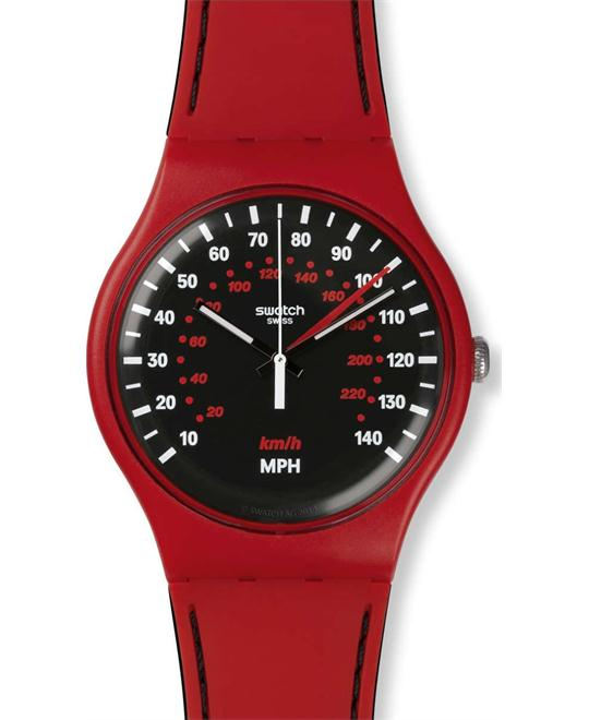 Swatch Brake Red Silicone Strap Watch 41mm