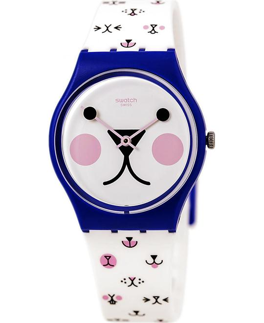 SWATCH Cattitude White Silicone Ladies Watch 33mm