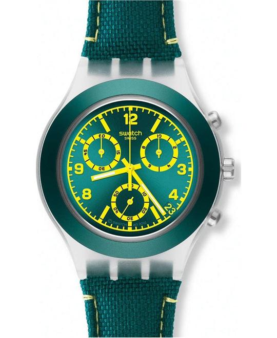 Swatch Coleslaw Chronograph Teal Plastic Mens Watch 43mm