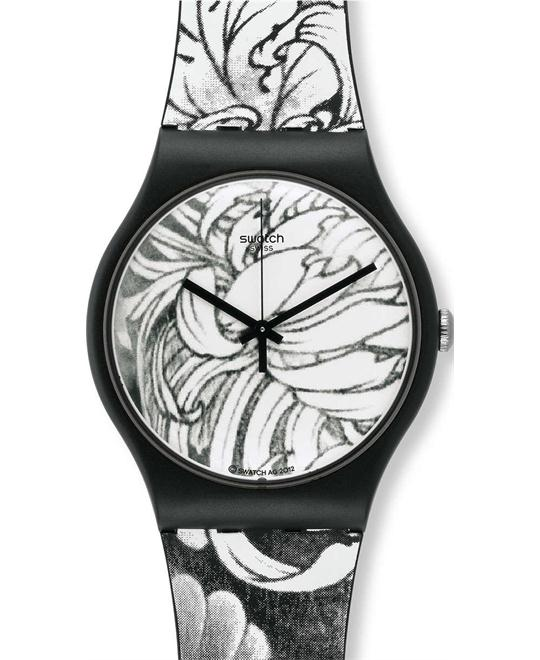 Swatch dark graft printed dial rubber strap unisex watch,
