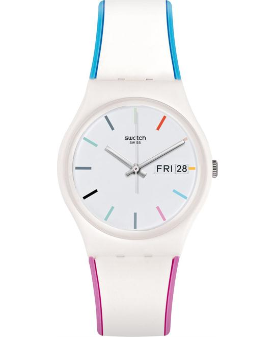 Swatch Edgyline White Dial Men's Multicolored Watch 34mm