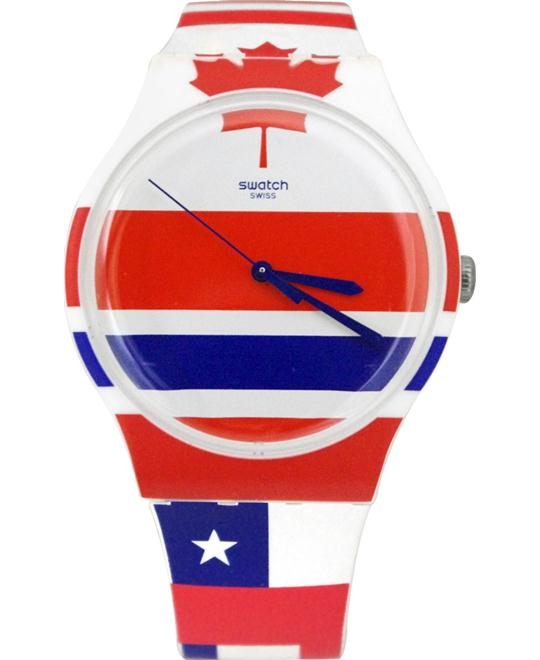 Swatch Flagtime Red White and Blue Dial Silicone Quartz 41mm