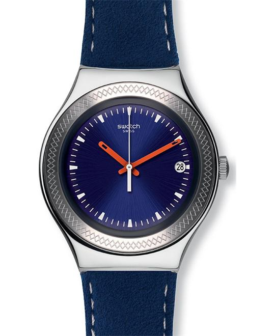 Swatch Irony Blue Leather Swiss Quartz Watch 37mm