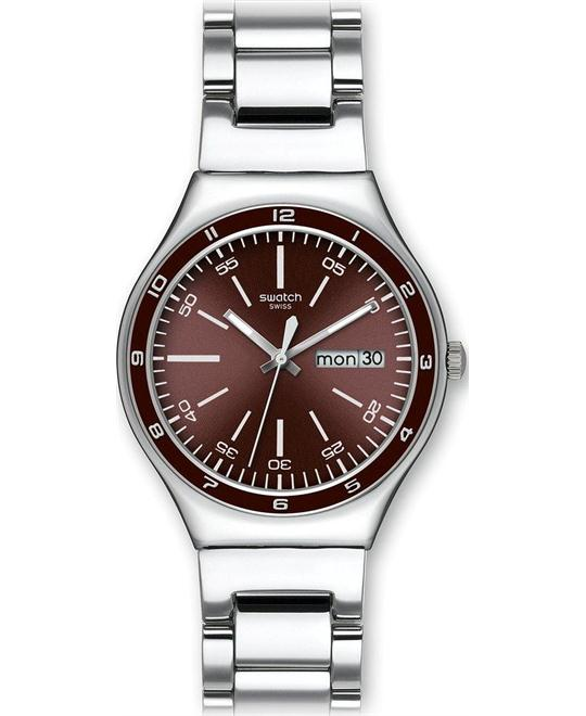 Swatch Men's Quartz Burgandy Dial Date Watch 37mm