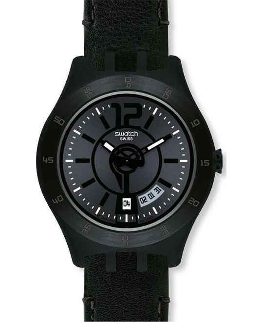 Swatch Men's Quartz Date Black Dial Resin Watch 44mm