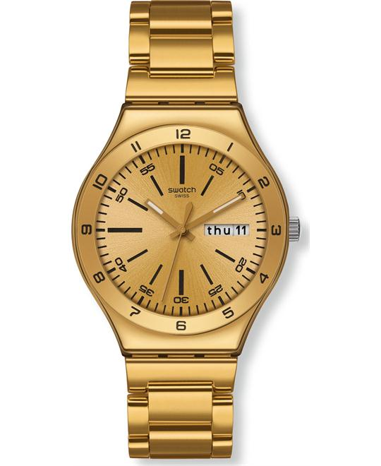 Swatch Men's Stainless Steel Gold Tone Dial Watch 38mm
