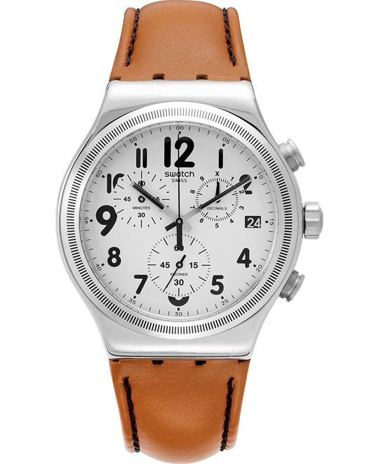 Swatch Men's Swiss Leblon Cognac Watch 39mm