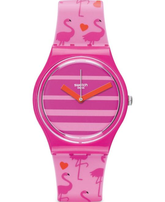 SWATCH Miami Peach Pink Unisex Watch 34mm