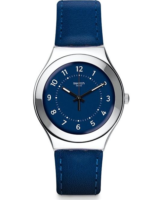 Swatch Night Twist Unisex Leather Watch 37mm