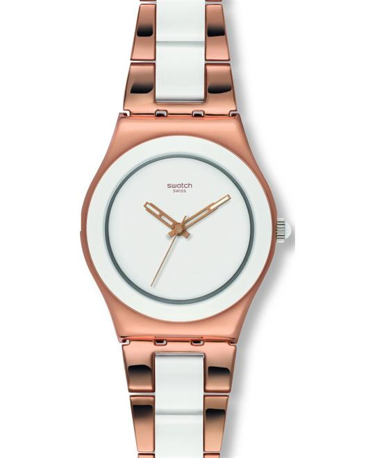 Swatch Rose Pearl White Stainless Steel Ladies Watch 33mm