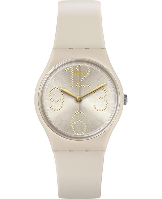 Swatch Sheerchic Beige Silicone Watch 34mm