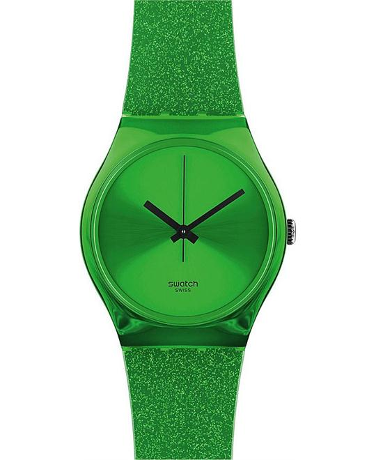 Swatch shine green silicone strap unisex watch 33mm