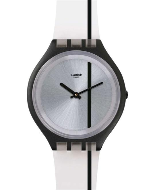 Swatch Skinthrough Black Silicone Swiss Watch 40mm