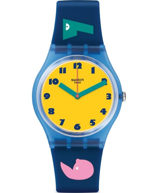 SWATCH Soleil Dial Blue Silicone Unisex Watch 34mm