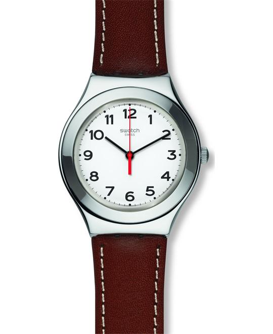 Swatch STRICTLY SILVER Leather Watch 37mm