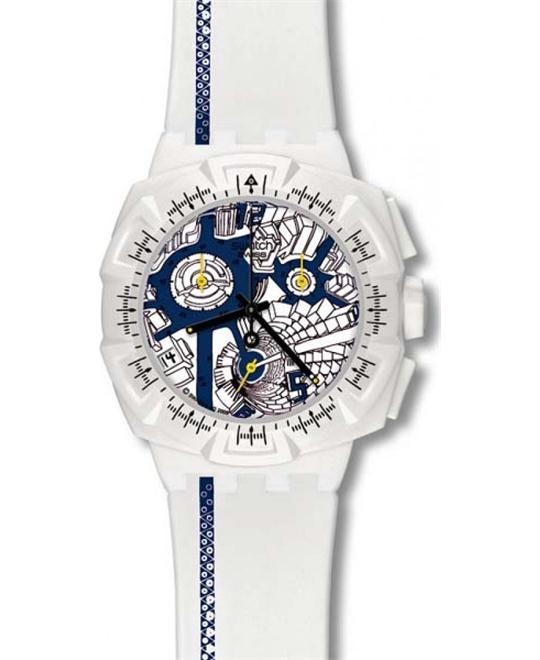 Swatch Swiss Map blue chronograph men's watch 43mm