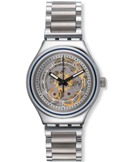 Swatch Uncle Charly Silver Dial Steel Unisex Watch 37mm