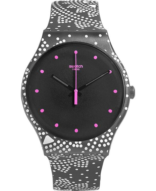 Swatch Unisex Swiss Black Dotted Silicone Watch 41mm