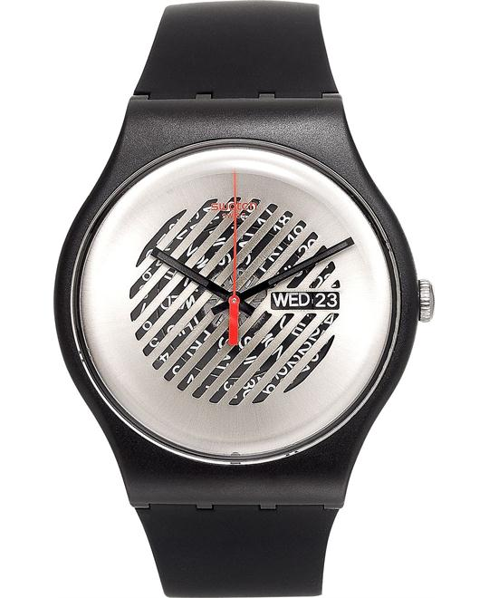 Swatch Unisex Swiss Black Silicone Watch 41mm