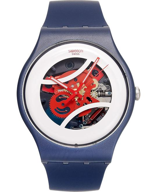Swatch Unisex Swiss Blue Silicone Watch 41mm