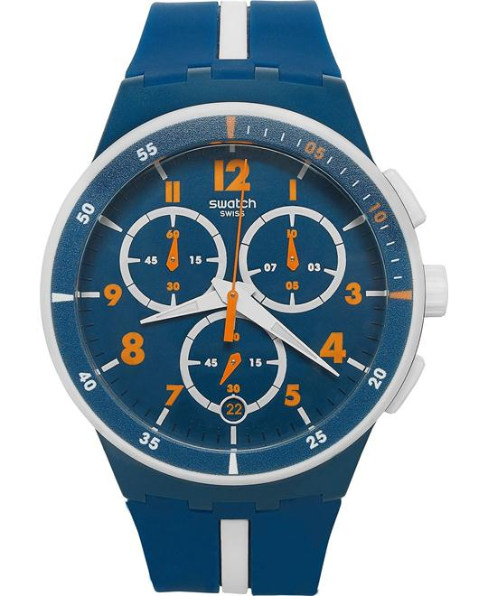 Swatch Unisex Swiss Chronograph Blue Silicone Watch 42mm