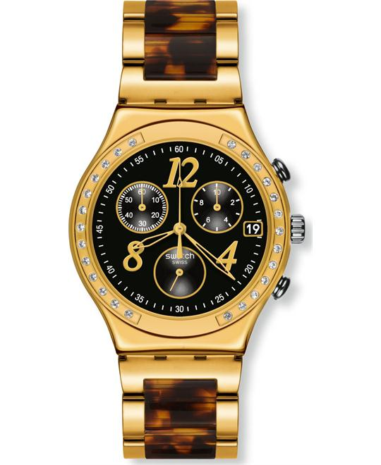 Swatch Unisex Swiss Chronograph Dreamnight 14 Golden Watch 43mm