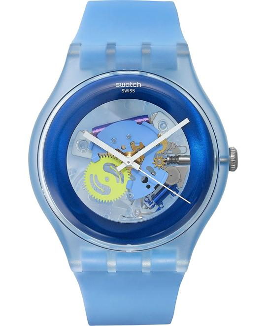 Swatch Unisex Swiss Cool Blue Silicone Watch 41mm