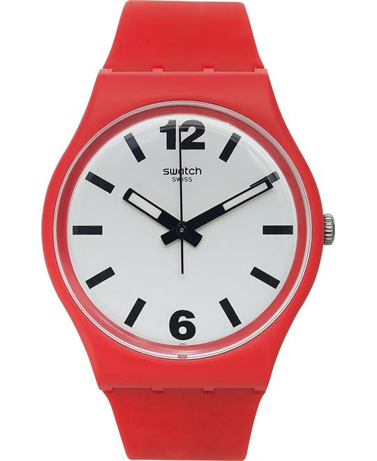Swatch Unisex Swiss Red Silicone Watch 34mm