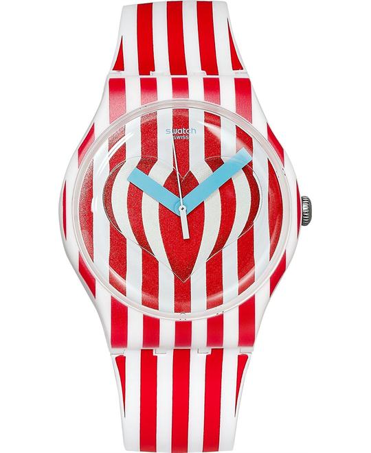 Swatch Unisex Swiss Sweet Valentine Silicone Watch 41mm