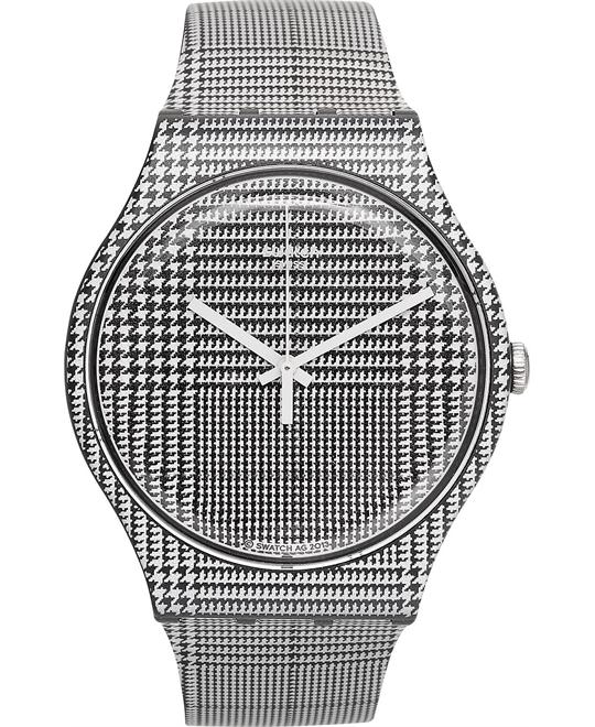 Swatch Unisex Swiss White and Black Watch 41mm