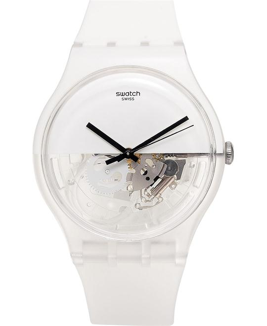 Swatch Unisex Swiss White Silicone Watch 41mm