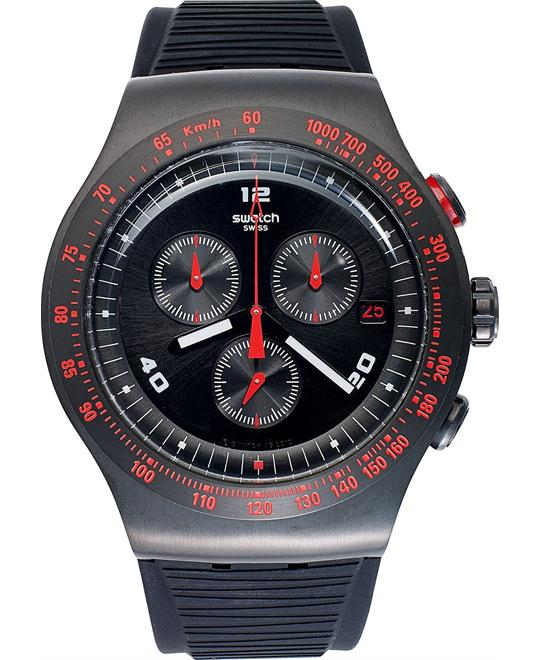 Swatch Watch, Men's Swiss Chronograph Black Silicone, 44mm