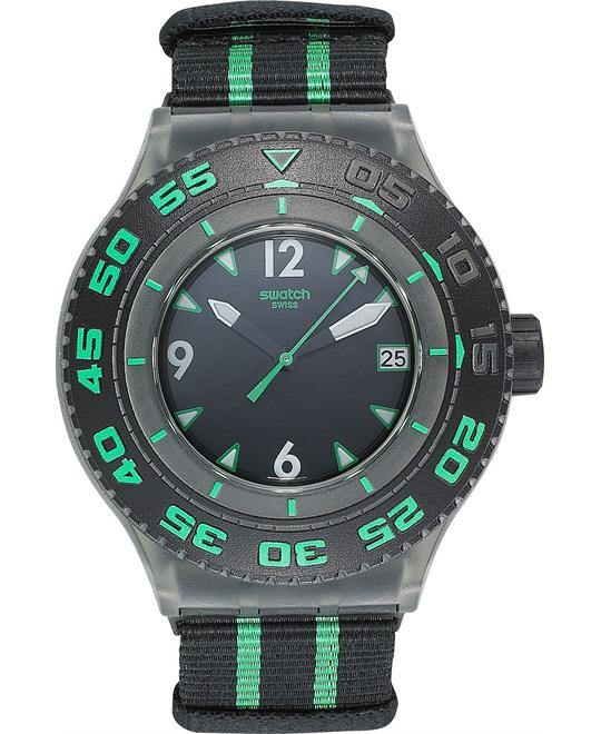 Swatch Watch, Unisex Swiss Black & Green Nylon, 44mm