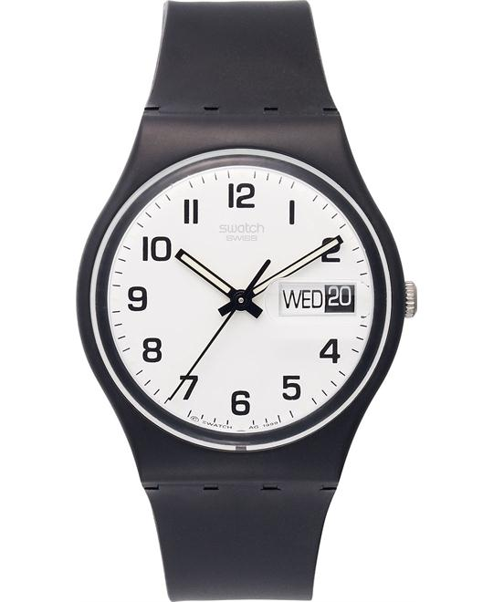 Swatch Watch, Unisex Swiss Black Plastic 34mm