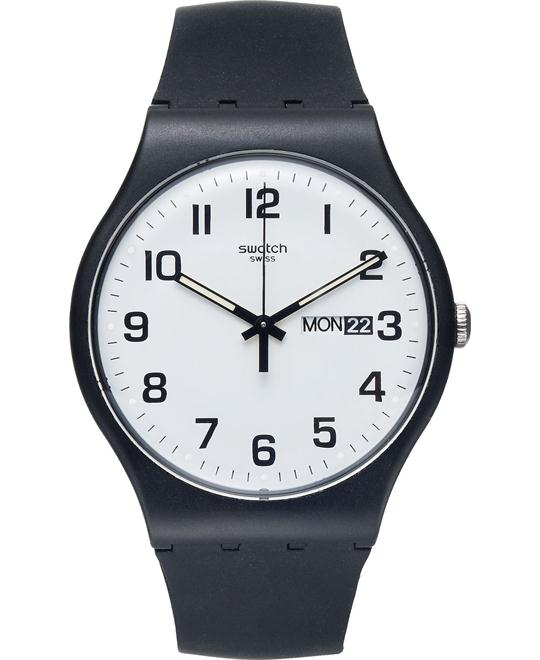 Swatch Watch, Unisex Swiss Black Silicone, 41mm