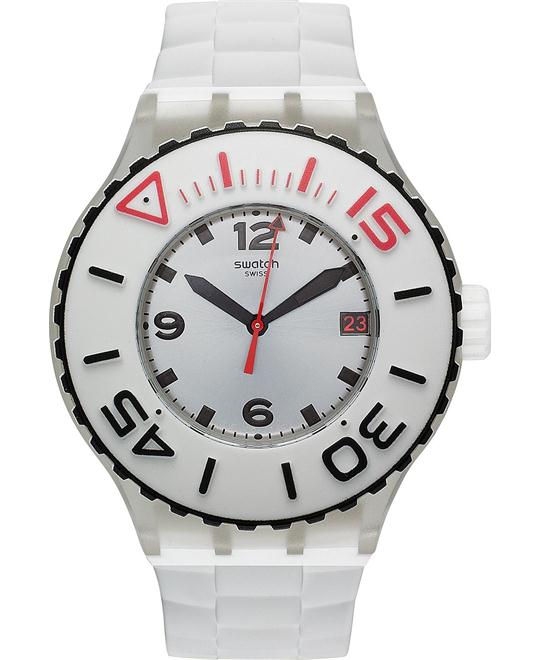 Swatch Watch, Unisex Swiss Blanca White Silicone, 44mm