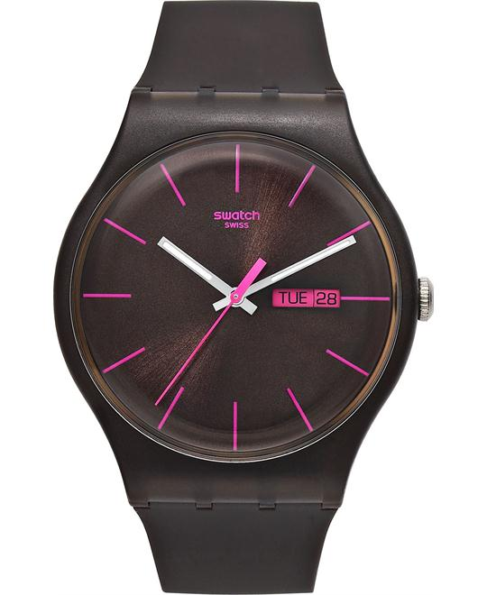 Swatch Watch, Unisex Swiss Brown Silicone, 41mm