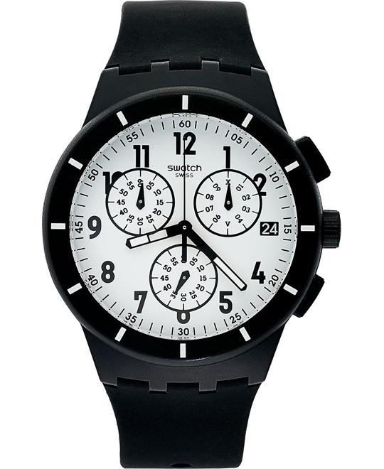 Swatch Watch, Unisex Swiss Chronograph Black Silicone, 42mm