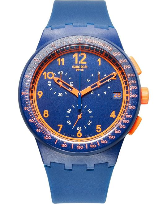 Swatch Watch, Unisex Swiss Chronograph Blue Silicone, 42mm
