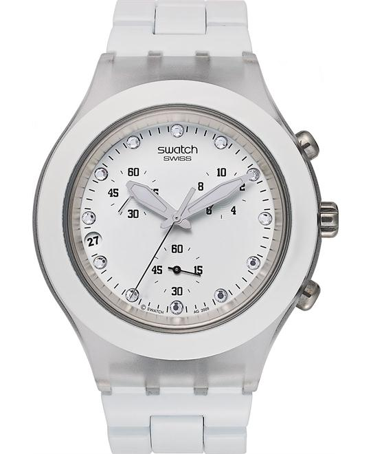 Swatch Watch, Unisex Swiss Chronograph White, 43mm