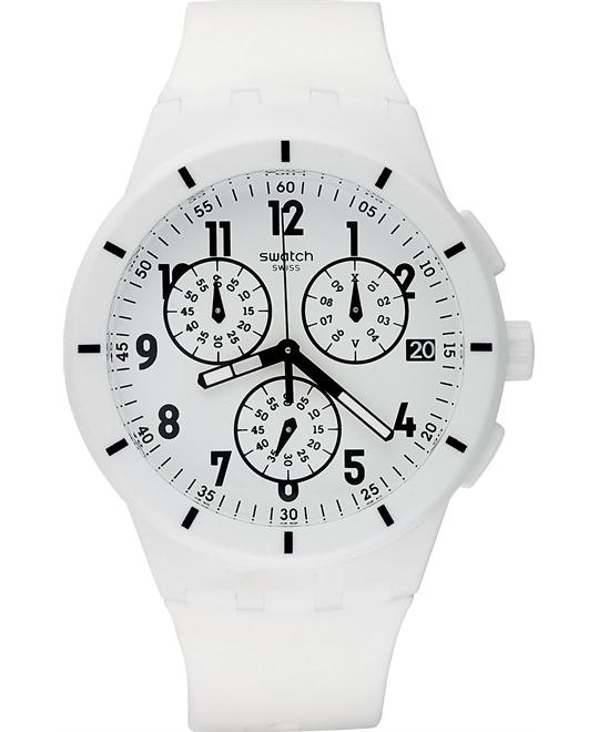 Swatch Watch Unisex Swiss Chronograph White Silicone 42mm