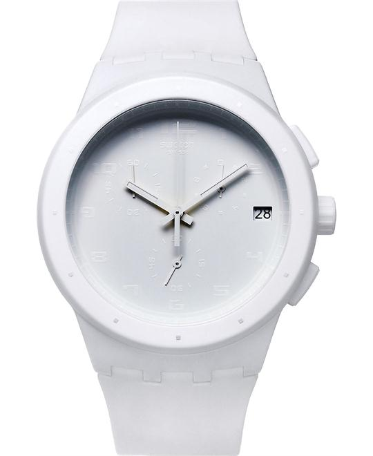 Swatch Watch, Unisex Swiss Chronograph White Silicone, 42mm