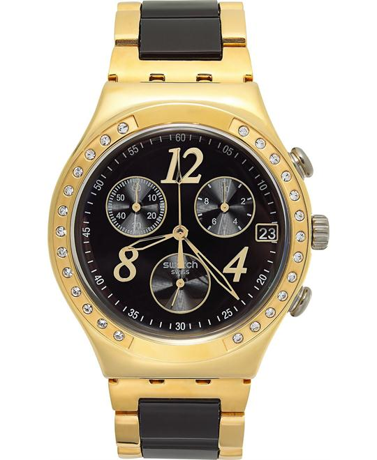 Swatch Swiss Chronograph Yellow Black Nylon- Gold 40mm