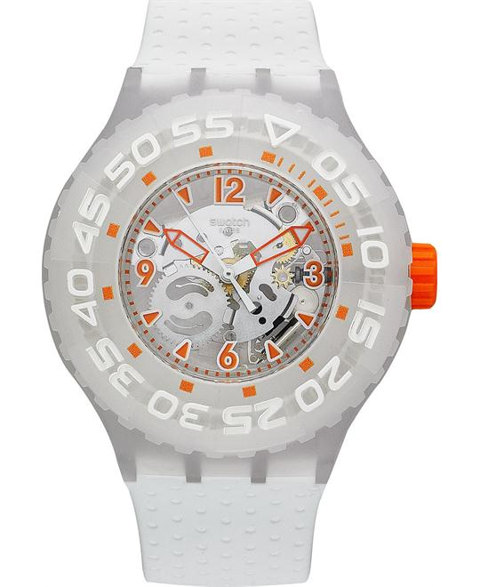 Swatch Watch, Unisex Swiss Clownfish White Silicone, 44mm